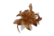 Brown chiffon flower & feather fascinator on comb. Perfect for weddings, races and other special occasions.