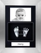 BabyRice Baby Casting Kit / 29cm x 22cm Brushed Pewter Frame / Black 3 Hole Portrait Mount / Black Backing / Silver Paint