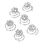 6 x Crystal/ Diamante Flower Design Hair Springs/ Hair Coils - Weddings/ Bridesmaids/ Proms etc.