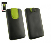 Emartbuy® Black / Green Premium PU Leather Slide in Pouch Case Cover Sleeve Holder ( Size 5XL ) With Pull Tab Mechanism Suitable For Prestigio MultiPhone 5550 Duo