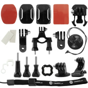 CamKix Grab & Go Accessory Kit for GoPro Hero 4, 3+, 3, 2, 1 - includes 2 Adhesive Mounts/3-Way Pivot Arm/Locking Plug/Quick Release Buckle/Tripod Mount/Opening Tool/ Thumbscrews/Anti-Fog Inserts/Handlebar Mount/Wrist Strap/Tether