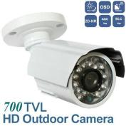 BW® BWB722 0.8cm Sony Effio-E Waterproof Weatherproof IR Bullet 700TVL Indoor/Outdoor Home CCTV Video Surveillance Security Cameras 20m IR Range 24 IR LED With OSD Menu-White (Brand
