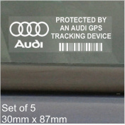 5 x AUDI GPS Tracking Device Security WINDOW Stickers 87x30mm-R8,A4,TT,A8,A3,A5,S5,RS 4,RS 6,S4,A6,Car,Van Alarm Tracker