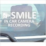 1 x Smile In Car Camera Recording Window Sticker-200mm x 87mm-CCTV Sign-Van,Lorry,Truck,Taxi,Bus,Mini Cab,Minicab