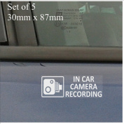 5 x EXTERNAL Small In Car Camera Recording Window Stickers-87mm x 30mm-CCTV Sign-Van,Lorry,Truck,Taxi,Bus,Mini Cab,Minicab,Tinted Blacked Out Windows