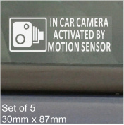 5 x SMALL 87x30mm In Car Camera Activated by Motion Sensor Stickers-Vehicle Security Detection Stickers Signs-For Car,Van,Truck,Taxi,Mini Cab,Bus,Coach