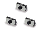 3 Tactile Micro Switches - 2 legs Silver Black top