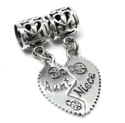 Queenberry Sterling Silver Aunt Niece Love Heart Dangle Pendant Family Bead For Pandora Troll Chamilia Biagi European Charm Bracelets