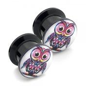 2 Logo Flesh Tunnel Plug Earring Piercing Owl 8mm