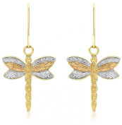 Carissima 9ct Three Colour Gold Dragonfly Drop Earrings
