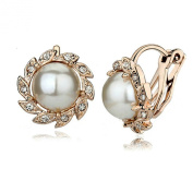 Yoursfs Pearl Clip Vogue 18k White Gold Plated Use Austria Crystal Flower Clip