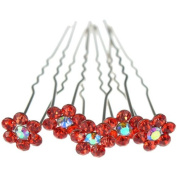 Jewellery of Lords 10 Red Colour Crystal AB Flower Wedding Bridal Bride Prom Hair Bobby Pin