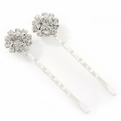 2 Bridal/ Prom Crystal Flower Hair Grips/ Slides In Rhodium Plating - 55mm Across