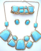 Turquoise Gemstone Statement Necklace Earrings Bracelet Rare Costume Jewellery