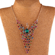Colourful Peacock Bird Rhinestone Beaded Wing 18K Gold Y Bib Collar Necklace