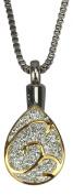 Golden Teardrop Urn Pendant - Memorial Ash Keepsake - Cremation Jewellery