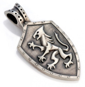 Bico Knights Shield Pendant (E320) - protector of those around you - Satin Silver Finished Signature Design Tribal Street Jewellery