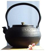 A Tetsubin Cast Iron Swirl design black teapot kettle 1.4 litre Japanese style