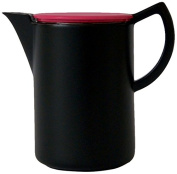 Sowden Max 1000ml Jug in Porcelain SUS 304 18/8 Stainless Steel Filter Melamine Lid Soft Brew Coffee, Black/ Wine Red Lid
