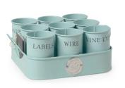 Sophie Conran Gardeners Gubbins Pots & Tray, Blue