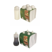 Four Traditional White Fish and Chip shop Salt Shakers (500mls) and Four Vinegar Bottles
