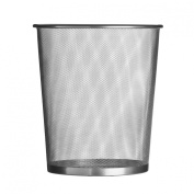 Large Waste Paper Basket Bin Silver In Mesh Design - Great For Office, Work, Home Use