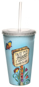 Tree-Free Greetings 470ml Trust Your Heart by Joanne Fink Artful Traveller Double-Walled Cool Cup with Reusable Straw