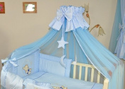 Luxury Baby Cot Bed Crown Canopy / Mosquito Net 480 cm + Clamp Holder / Rod / Stand MOON - BLUE