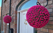 2 Best Artificial (TM) 38cm Pink Rose Topiary Hanging Flower Balls **UV Fade Protected**