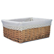 RURALITY Plain Willow Wicker Storage Shelf Basket with Lining, Large