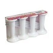 7.6cm White Plastic Round Pillar and Dowel Set - Pack of 4