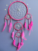 Dream catcher Large silver web pink