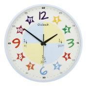 """Teach The Time"" Colourful Childrens Wall Clock Blue"