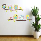 Cute Six Owl on the Tree DIY Wall Decal