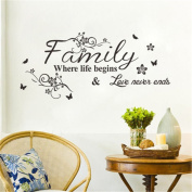 Family Where Life Begins Flower Wall Sticker Quote Words Decals Vinyl Decor