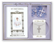 Boys Silver Plated Crucifix and Missal Gift Set - First Holy Communion Gifts.