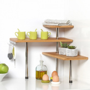 Bamboo and Stainless Steel Corner Shelf Unit - Kitchen - Bathroom - Desktop - Perfect space-saving idea.