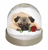 Pug Dog with a Red Rose Snow Dome Globe Waterball Gift