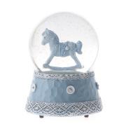 Gisela Graham Baby Boy Rocking Horse Musical Snow Globe