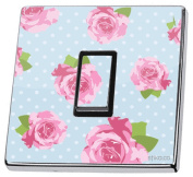 Blue Shabby Chic Pink Roses Light Switch Sticker vinyl cover skin decal