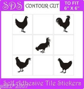 Smarts-Art 15cm Tile Stickers Transfers Set Of 10 Chickens Hens -black