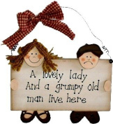 A Lovely Lady and a Grumpy Old Man Live Here Wooden Sign Plaque