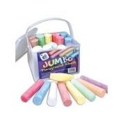 1 BUCKET 20 ASSORTED JUMBO SIDEWALK PLAYGROUND CHALKS