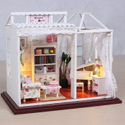 TOP-MAX Wooden Dolls House With Furniture and Doll Family for Women's Day and Your Girlfriend /Mother[Toy]