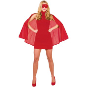 New Red Satin Superhero Cape & Mask - Adult Accessory Adult - One Size