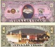 Novelty Dollar Viva Las Vegas Nevada Sin City 21 Dollar Bills X 4 New