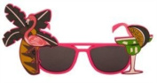 Fancy Dress Hawaiin Beach Party Tropical Coloured Sunglasses Accessory Pink