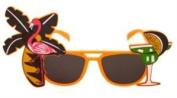 Fancy Dress Hawaiin Beach Party Tropical Coloured Sunglasses Accessory Orange