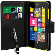 N4U Online® Nokia Lumia 635 Luxury PU Leather Wallet Case Cover, Screen Protector & Stylus Pen - Black