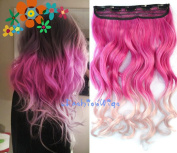 Hot Pink to Light Pink Two Colour Ombre hair extension, Synthetic Hair extensions UF243